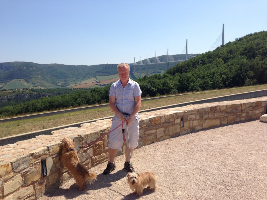 Rory with Heidi and Rufus, admiring the Millau Viaduct