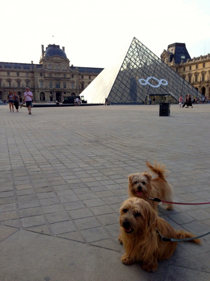 Rufus and Heidi pause during their morning stroll around the (outside of) the Louvre and its famous glass pyramid