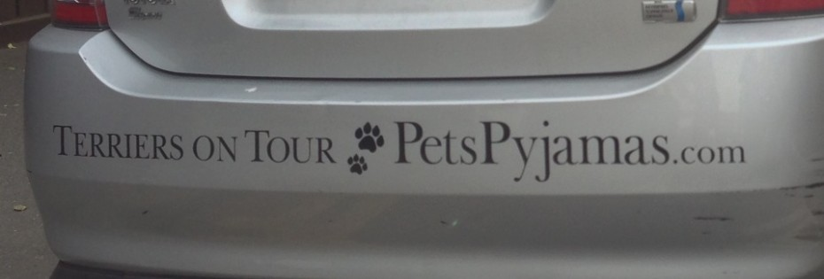 The logo on the bumper of the Terriers on Tour car