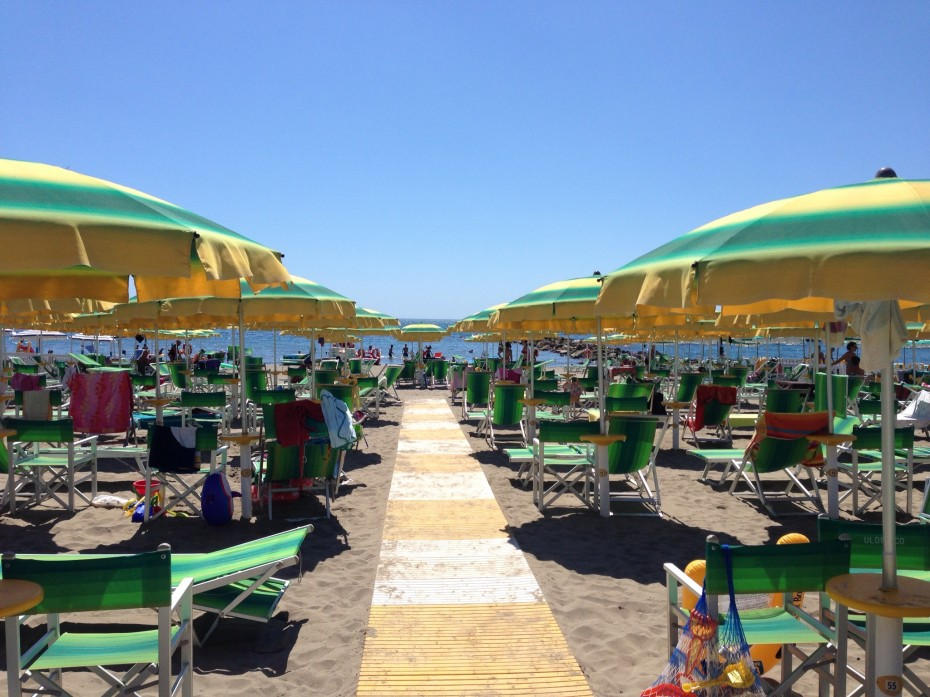 A beach club at Marina di Massa, Tuscany ... where unfortunately dogs were not allowed.