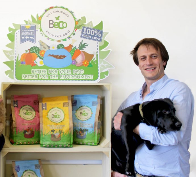 Beco Pets co-Founder George Bramble with Labrador puppy Tarka